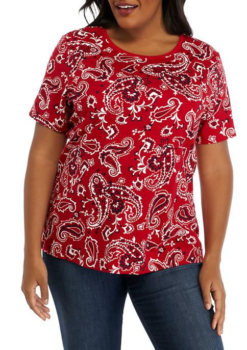 Kim Rogers® Plus Size Short Sleeve Mega Print