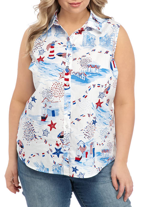 Kim Rogers® Plus Size Button Down Printed Top