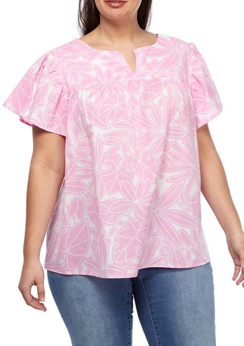 Kim Rogers® Plus Size Flutter Sleeve Split Neck