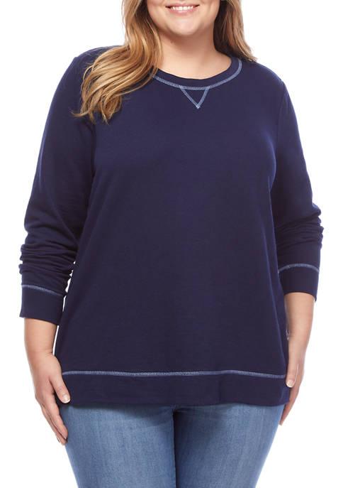 Kim Rogers® Plus Size Long Sleeve Sweatshirt