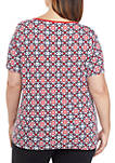 Plus Size Short Sleeve Tile Print T Shirt