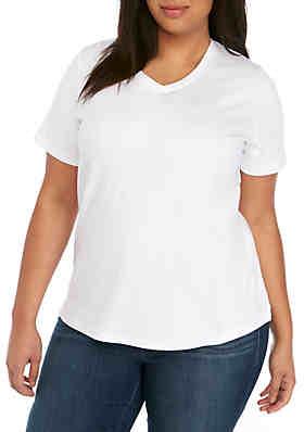 079bd193 Kim Rogers® Plus Size Short Sleeve V-Neck Mega Tee ...