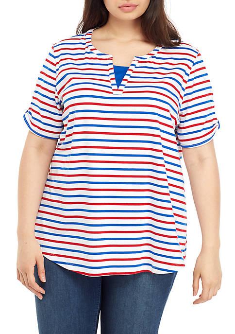 Kim Rogers® Plus Size Split Neck Stripe Top