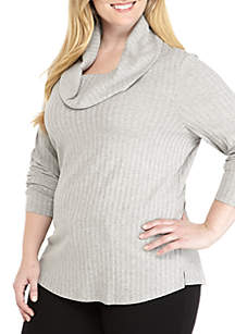 Plus Size Cowl-Neck Rib Knit Tunic