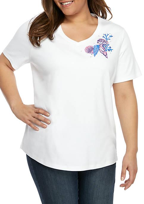 Kim Rogers® Plus Size V Neck Seashell T