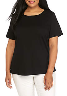 42a876043e28f Kim Rogers® Plus Size Solid Crew Neck Tee