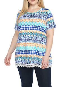 Plus Size Short Sleeve Swing Top