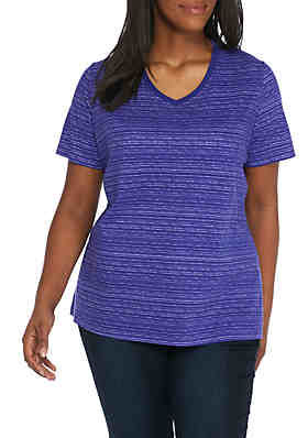 b57e311fd3c Kim Rogers® Plus Size Space Dye V-Neck Top ...