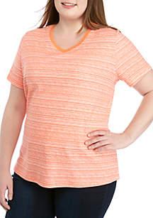 Kim Rogers® Plus Size Space Dye V-Neck Top