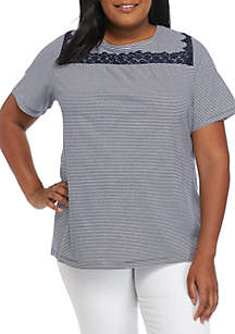 Plus Size Short Sleeve Embroidered Swing Top