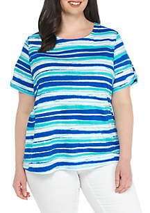 Plus Size Short Sleeve Button Back Stripe Top