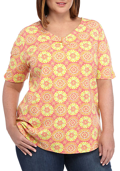 Kim Rogers® Plus Size Short Sleeve Cinched Neck