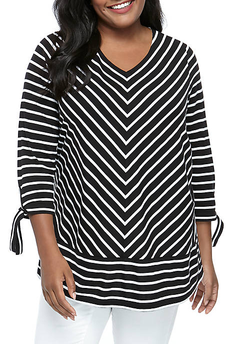 Kim Rogers® Plus Size 3/4 Tie Sleeve Striped