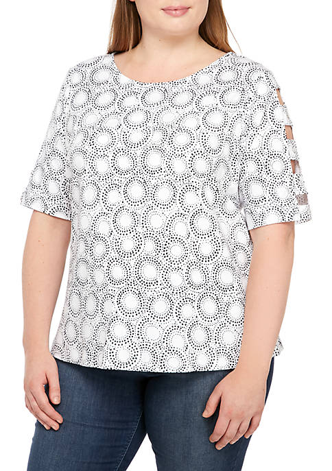 Kim Rogers® Plus Size Button Ladder Sleeve Top