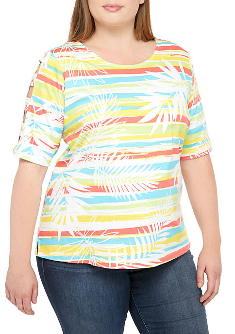 Kim Rogers® Plus Size Button Ladder Sleeve Printed