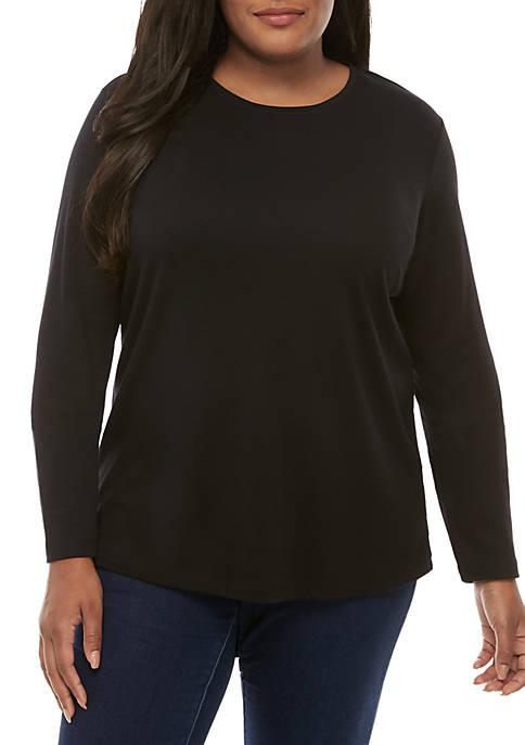 Kim Rogers® Plus Size Long Sleeve Crew Neck