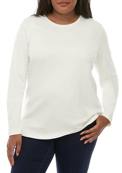 Plus Size Long Sleeve Crew Neck T Shirt