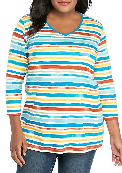 Kim Rogers® Plus Size 3/4 Sleeve Lakeside Stripe
