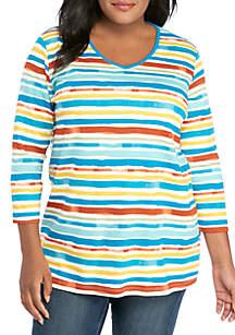 Kim Rogers® Plus Size 3/4 Sleeve Lakeside Stripe T Shirt