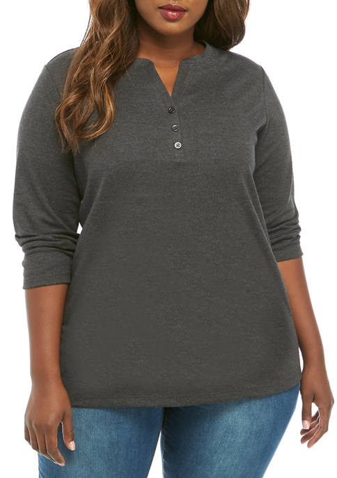 Plus Size 3/4 Sleeve Henley T Shirt