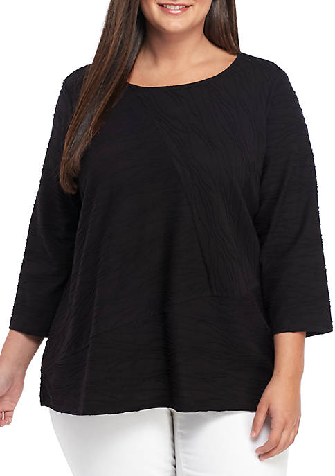 Kim Rogers® Plus Size 3/4 Sleeve Textured Top