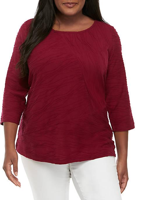 Kim Rogers® Plus Size 3/4 Sleeve Textured Top