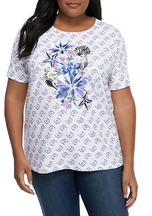 Kim Rogers® Plus Size Lush Floral Short Sleeve