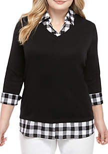 Kim Rogers® Plus Size 3/4 Sleeve Knit to Woven 2Fer Top