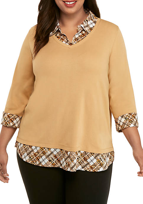 Kim Rogers® Plus Size 3/4 Sleeve Knit to