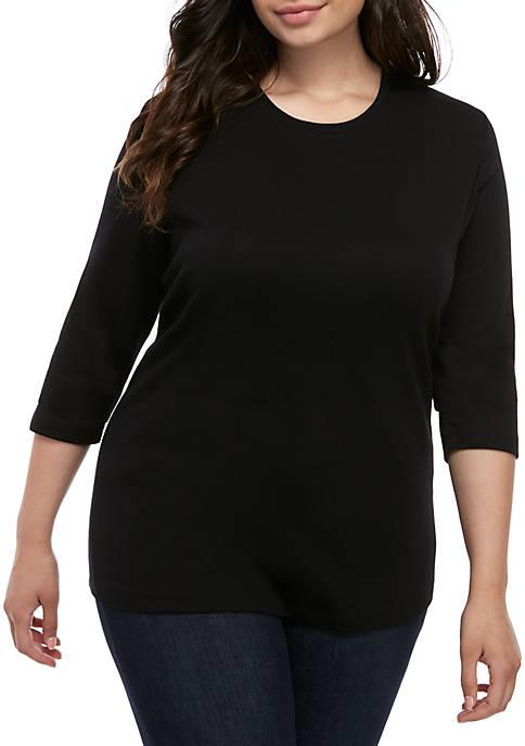 Kim Rogers® Plus Size 3/4 Sleeve Mega Solid