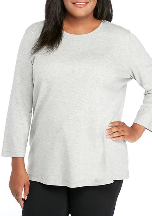 Kim Rogers® Plus Size 3/4 Sleeve Mega Crew