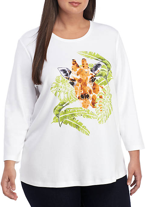 Kim Rogers® Plus Size 3/4 Sleeve Giraffe Top