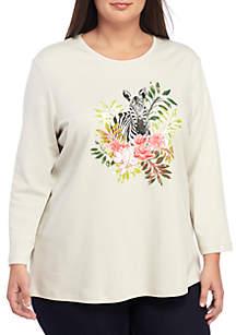 Kim Rogers® Plus Size 3/4 Sleeve Zebra Top
