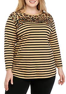 Kim Rogers® Plus Size 3/4 Sleeve Color Block Animal Placement T Shirt