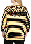 Plus Size 3/4 Sleeve Color Block Animal Placement T Shirt