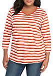 Plus Size 3/4 Sleeve V Neck Stripe Print T Shirt