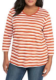 Kim Rogers® Plus Size 3/4 Sleeve V Neck Stripe Print T Shirt
