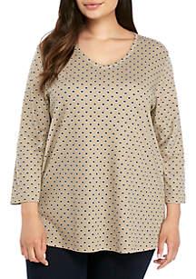 Kim Rogers® Plus Size 3/4 Sleeve V Neck Dot Print T Shirt