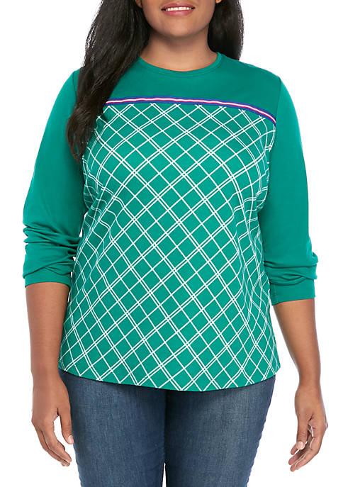 Kim Rogers® Plus Size Plaid Crew Neck Top