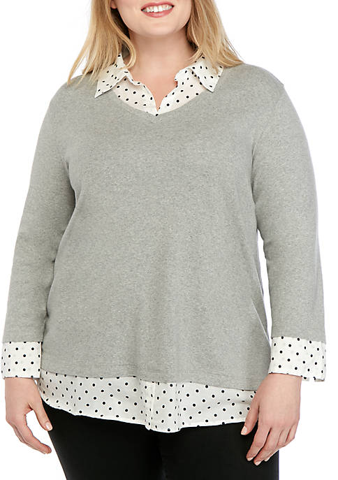 Plus Size 3/4 Sleeve Knit to Woven Heather 2Fer Top