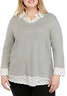 Kim Rogers® Plus Size 3/4 Sleeve Knit to Woven Heather 2Fer Top