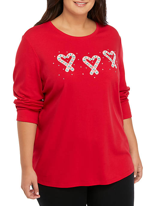 Plus Size 3/4 Sleeve Candy Cane Shirt