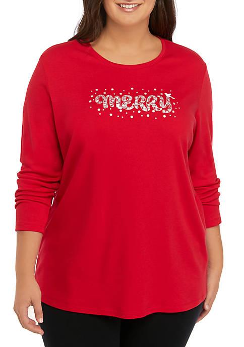 Plus Size Merry Long Sleeve Shirt