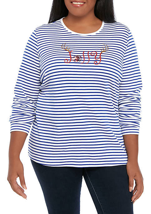 Kim Rogers® Plus Size Striped Jolly Crew Neck