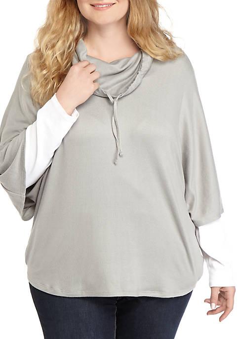 Kim Rogers® Plus Size Hacci Knit Cowl Neck