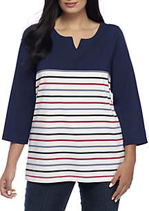 Plus Size Three-Quarter Sleeve Contrast Stripe Top