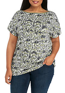 Plus Size Short Sleeve Boat Neck Print Tee