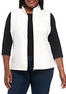 Plus Size Zip Front Jacquard Vest