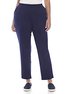 Plus Size Average Solid Straight Pants