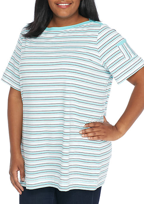 Kim Rogers® Plus Size Boat Neck Pocket Sleeve